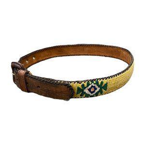 Vintage beautiful, handmade leather belt serape 32